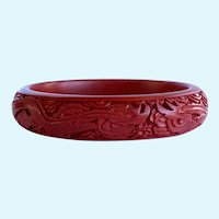 Red Cinnabar Bracelet, Vintage Carved Asian Cinnabar Bangle Bracelet with Dragon Motif, stacking bangles