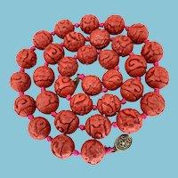 Vintage Asian Cinnabar Bead Necklace