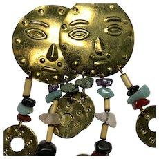 Brass and Stone Sun Face Dangle Earrings