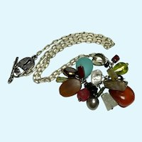 Sterling Silver Charm Necklace with Pearl, Stone, Wood and Glass with Padlock Toggle Clasp