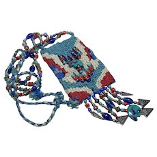 Vintage Native. American Medicine Pouch, Stash Bag, Macrame, Woven, Beaded