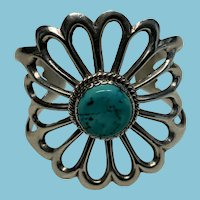 Native American Signed Sterling and Turquoise Flower Cuff