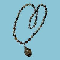 Liza Shtromberg Los Angeles Vintage Agate Bead Necklace with Smoky Quartz Pendant