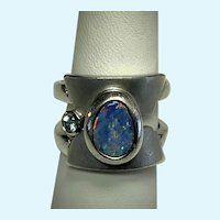 Opal Ring, Vintage Boulder Opal Ring in Sterling Silver with Topaz Accent