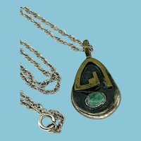 Vintage Native American Silver Turquoise and Brass Pendant