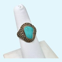 Chinese Export Turquoise Ring with adjustable shank