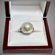 Hand Crafted Pearl Ring Sterling Silver & 22Karat Gold, Size 6