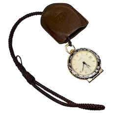 Gucci World Travel Alarm Clock/Pocket Watch with leather case