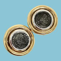 Athena Coin Clip On Earrings by Ciner