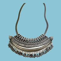 Ladakh India Sterling Silver Tribal Collar Necklace with bells