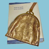 Whiting & Davis Co. Gold Mesh Wristlet, Evening Bag