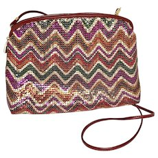 Whiting and Davis Multi Color Mesh Evening Bag with original box
