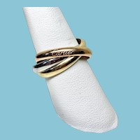 Cartier 18 Karat Tri-Color Rolling Ring, Trinity Ring, Size 9.25