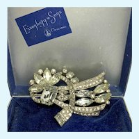 Eisenberg Original Clear Rhinestone Fur Clip/Pin in Original Box
