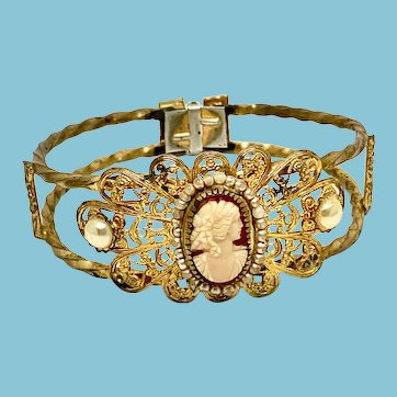 Cameo Clamper Bracelet with Filigree