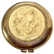 Art Nouveau Lady compact mirror or pill box