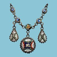 Grand Tour Italian Mosaic Necklace with Dangles in multi color