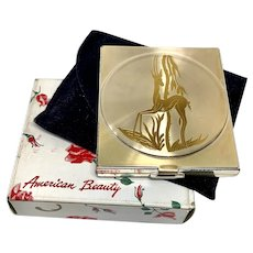 American Beauty Art Deco Compact Mirror with original box