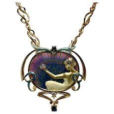 Plique a Jour Necklace in 18 Kt Sapphire and Diamond by Nouveau 1910