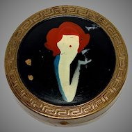 Vintage Compact, Art Deco Hand Painted Red Headed Flapper, Mirror Compact