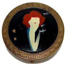 Art Nouveau Porcelain Portrait Hand Mirror Woman With