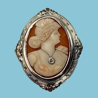Early Art Deco White Gold Habille Cameo Brooch in original box