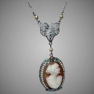 Art Deco Cameo Necklace, 10 Karat White Gold Filigree Necklace, Enamel Frame Cameo