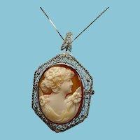 Art Deco Filigree Cameo Pin/Pendant 14 Karat White Gold