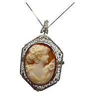 Art Deco Filigree Cameo Pin/Pendant 14 Karat White Gold Filigree with hand carved shell cameo