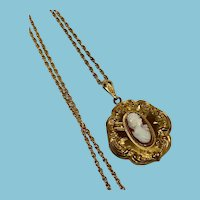 Victorian Revival Cameo Locket and long chain, long and layered