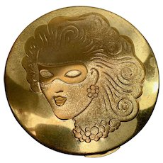 Mirror Compact, Large Vintage Powder Compact with Masked Woman