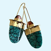 14K Yellow Gold, Crazy 8 Turquoise and Garnet Drop Earrings