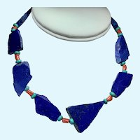 Lapis Lazuli Necklace, Vintage Choker with slabs of Lapis Turquoise and Coral beads