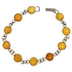 Egg Yolk Amber Sterling Silver Bracelet