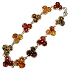 Amber Sterling Silver Bracelet, 7.75 inches long