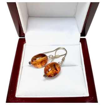 Vintage Amber Dangle Earrings, Sterling Silver Ear Wires and oval Amber Drops