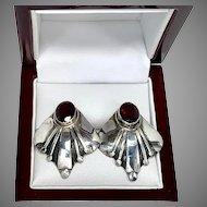 Garnet Sterling Silver Fan Earrings, Red Garnet Earrings for pierced ears