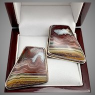 Landscape Agate Earrings, Vintage Sterling Silver Pierced Earrings in red and yellow banded agate