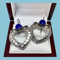 Lapis Lazuli Earrings, Sterling Silver Indonesian Pierced Earrings, Front Facing Hoops