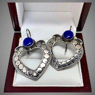 Lapis Lazuli Earrings, Sterling Silver Indonesian Pierced Earrings, Front Facing Hoops