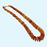 Baltic Amber Beads, Translucent Mid Century Square Amber Bead Necklace