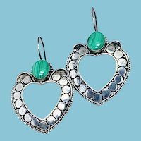 Malachite Sterling Silver Ethnic Hoop Earrings, Large Green Stone Pierced Earrings