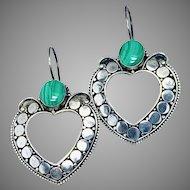 Malachite Sterling Silver Ethnic Hoop Earrings, Large Green Stone Pierced Earrings