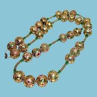 Chinese Gold Cloisonne Enamel Large Bead Necklace