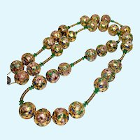Chinese Gold Cloisonne Enamel Large Bead Necklace