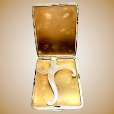 Sterling Silver Cigarette Case with gold interior, Card Case, 1949