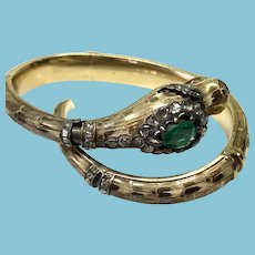Late Georgian Early Victorian Snake Bracelet 18 Karat Gold Diamond and Emerald