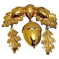 Acorn Brooch, Late Victorian Large Brooch, Coat Pin