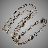 Sterling Silver Ball and Chain Link Choker Necklace, 16 inches long