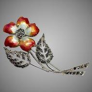 Red Enamel Flower Brooch, Sterling Silver Marcasite Multi Color Enamel Flower Pin
